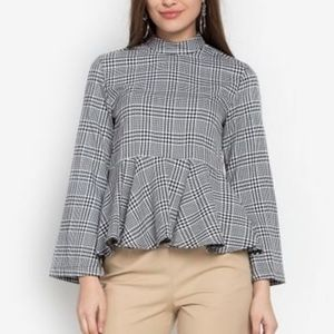 Topshop Houndstooth Checkered Peplum Top